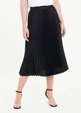 Solid Pleated Satin Midi Skirt