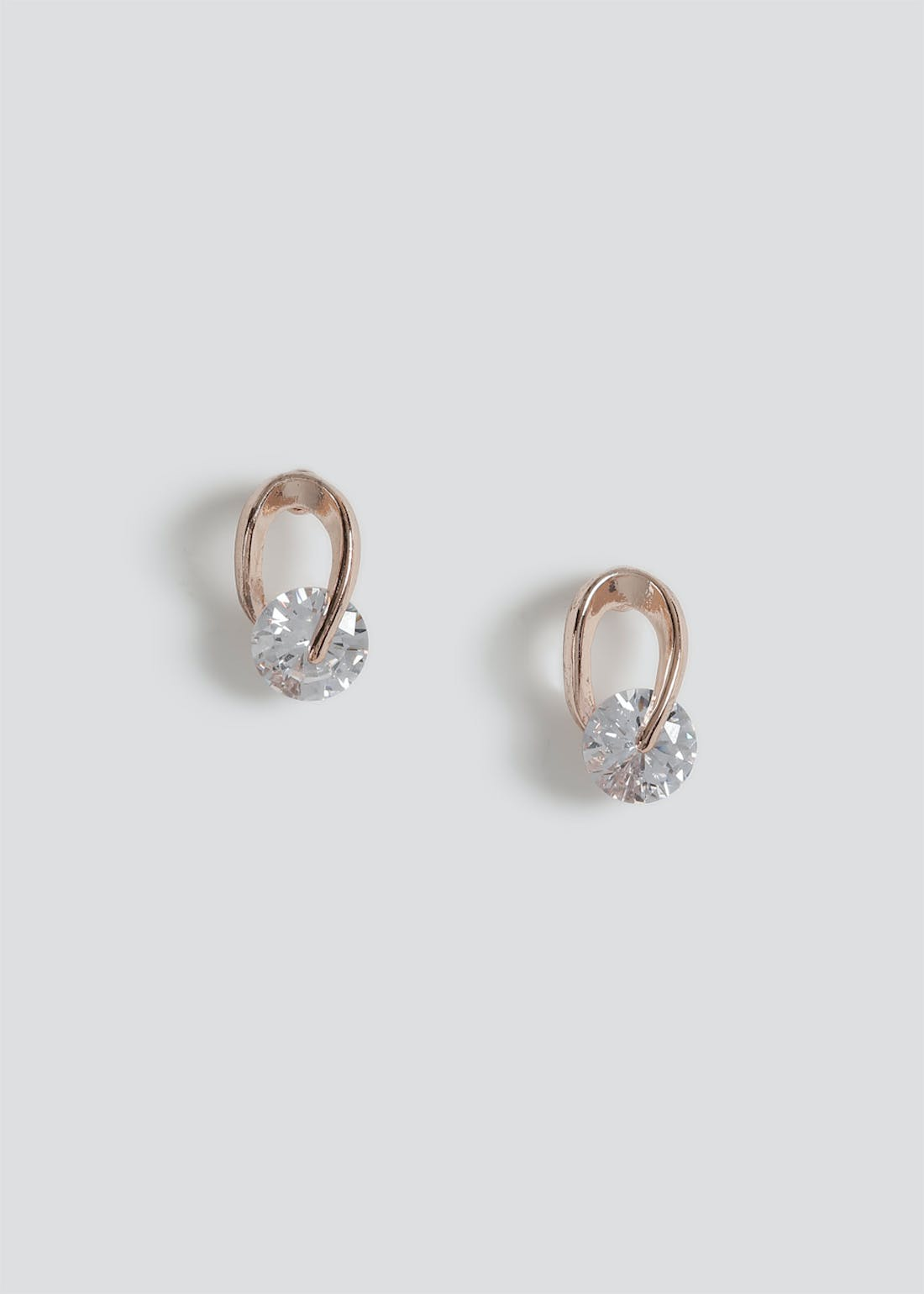 Cubic Zirconia Loop Stud Earrings