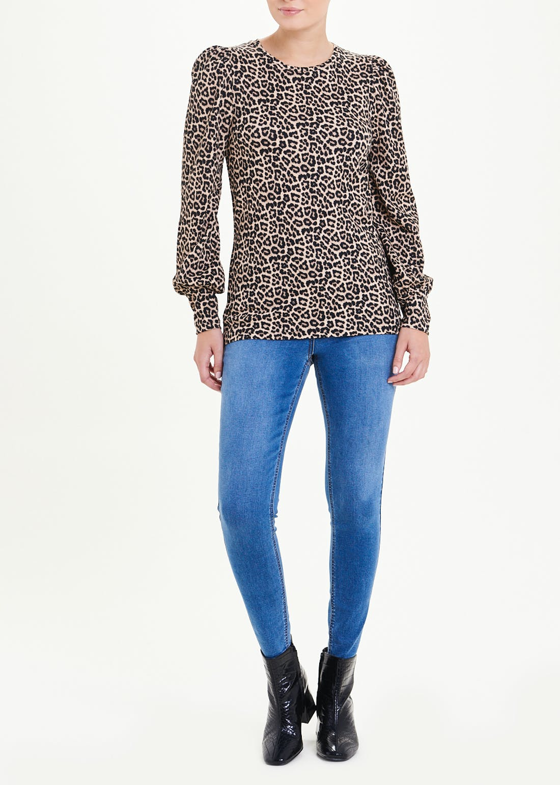 Long Sleeve Leopard Print Textured Top