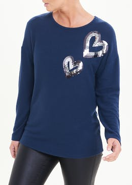 Long Sleeve Sequin Heart Top