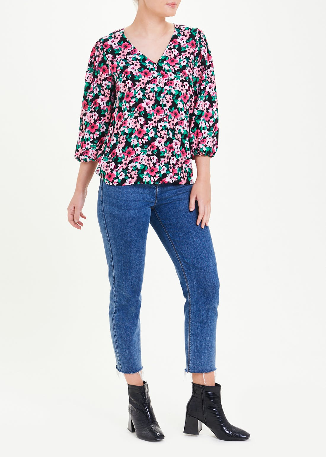 Floral Puff Sleeve V-Neck Blouse