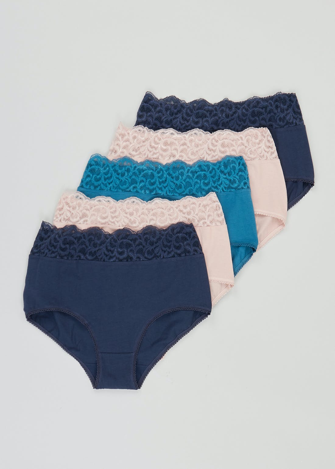 5 Pack Lace Trim Full Knickers