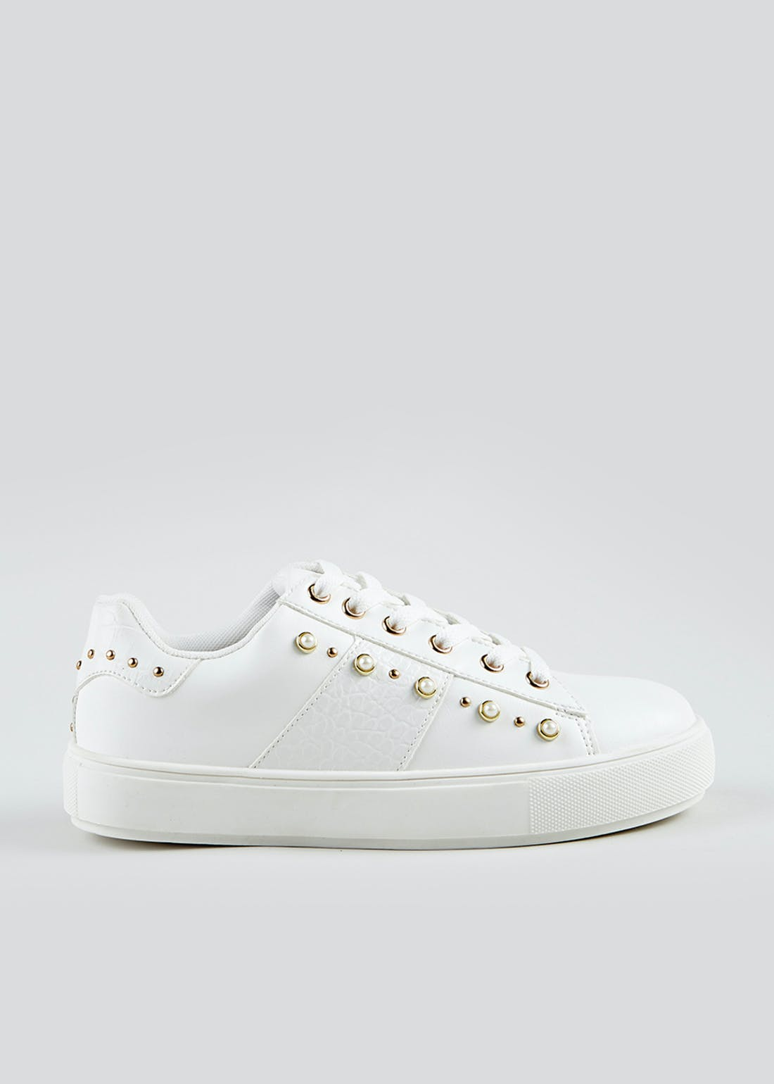 White Pearl Platform Trainers