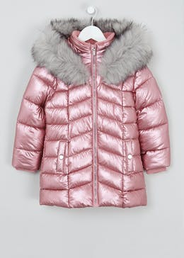 Girls Pink Metallic Padded Jacket (4-13yrs)