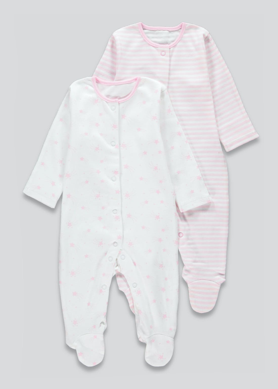 Girls 2 Pack Star Baby Grows (Newborn-23mths)