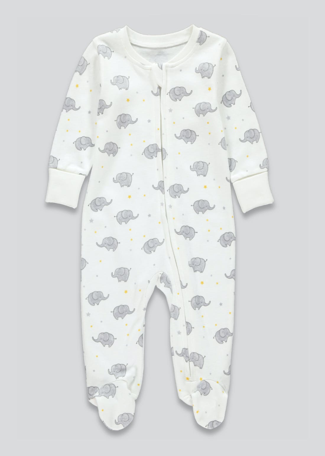 Unisex Elephant Zip Up Baby Grow (Tiny Baby-9mths)