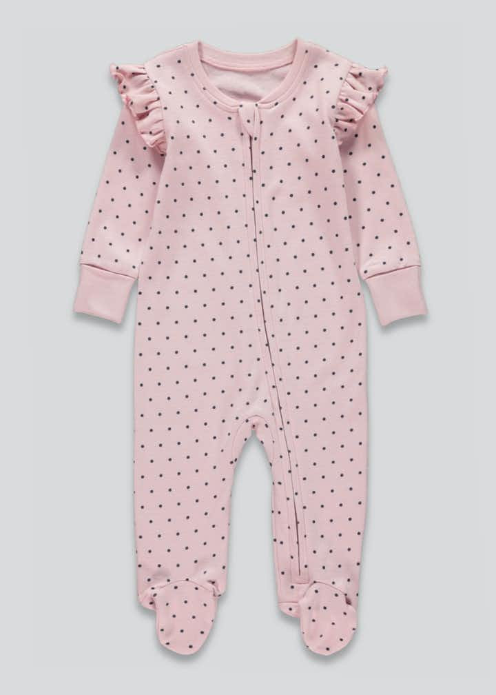 Girls Zip Up Baby Grow (Tiny Baby-18mths)