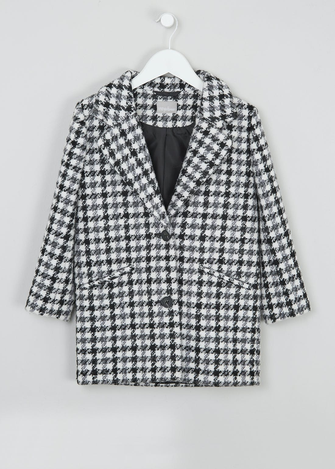 Girls Houndstooth Check Formal Coat (4-13yrs)