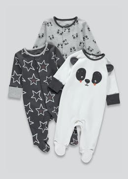 Unisex 3 Pack Panda Baby Grows (Tiny Baby-12mths)