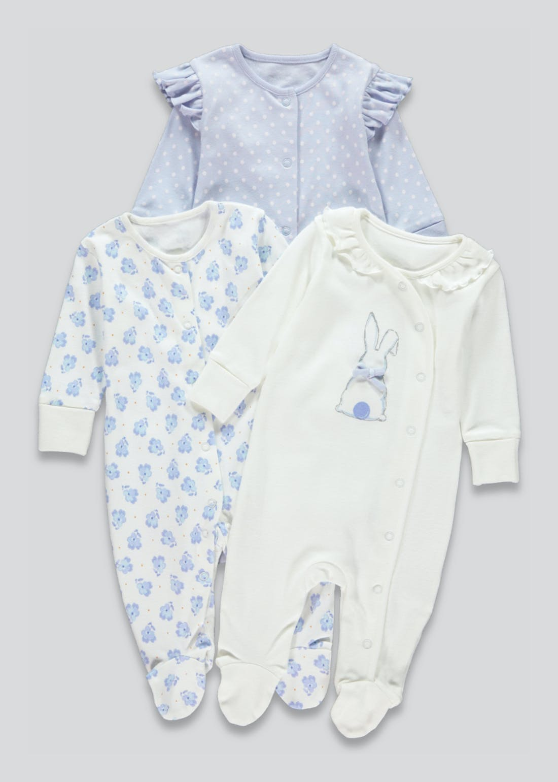 Girls 3 Pack Bunny Baby Grows (Tiny Baby-18mths)
