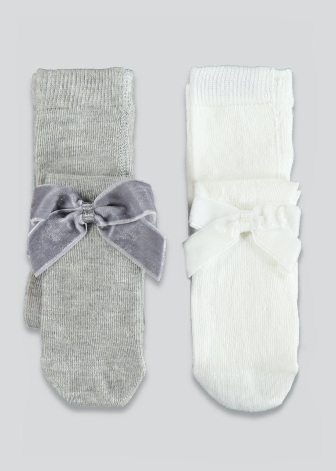 Girls 2 Pack Velvet Bow Tights (Newborn-23mths)