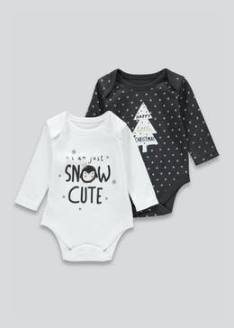 Girls 2 Pack Christmas Bodysuits (Tiny Baby-18mths)