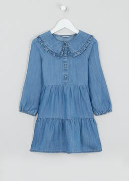 Girls Frill Collar Denim Dress (4-13yrs)