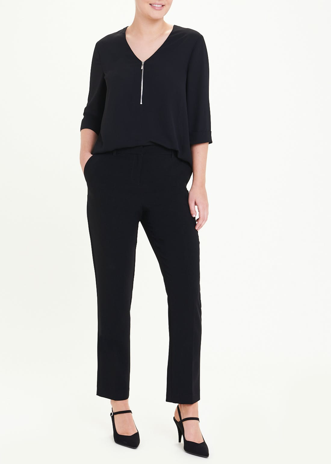 Black 3/4 Sleeve Zip Front Blouse