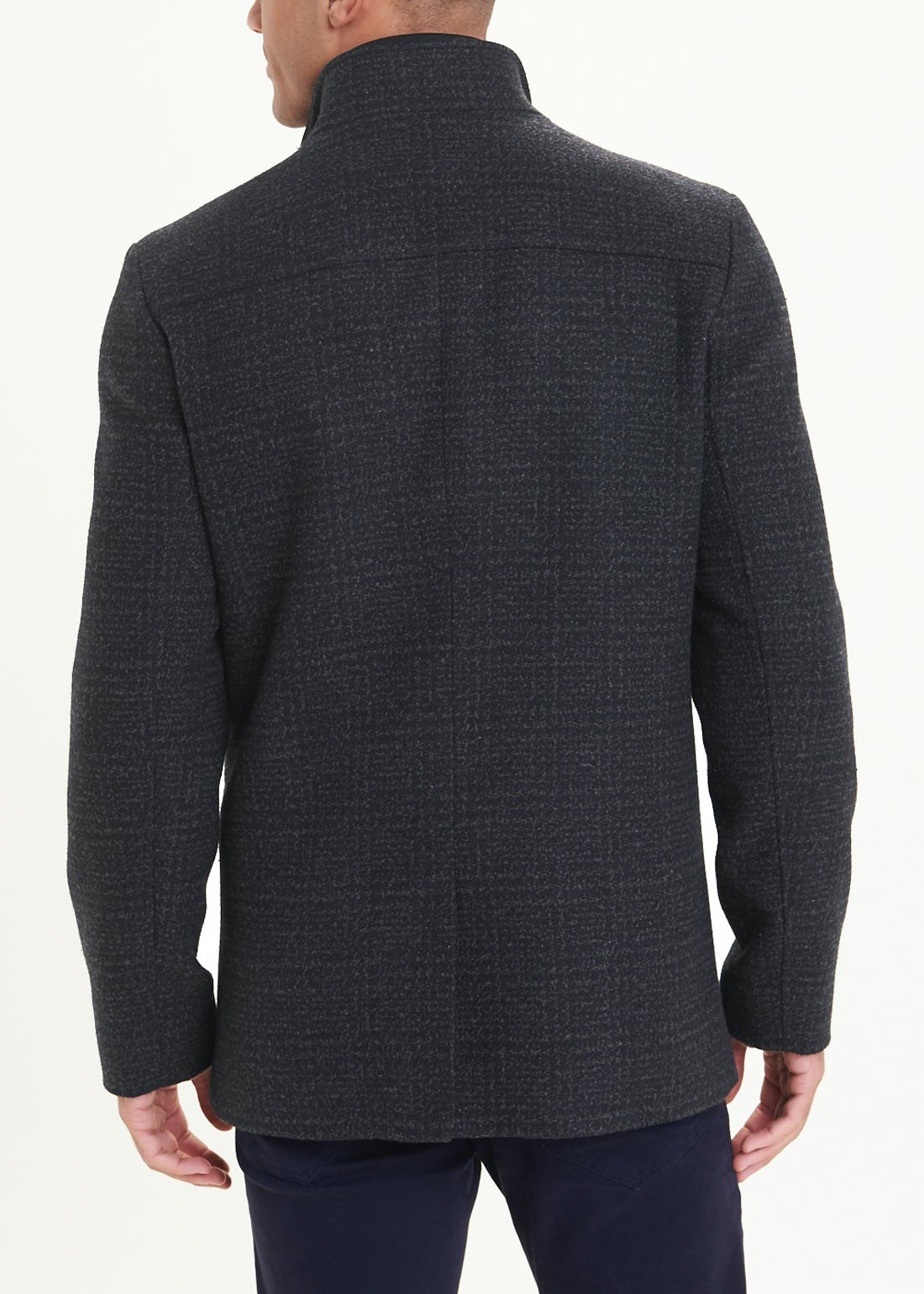 Grey Funnel Neck Check Coat