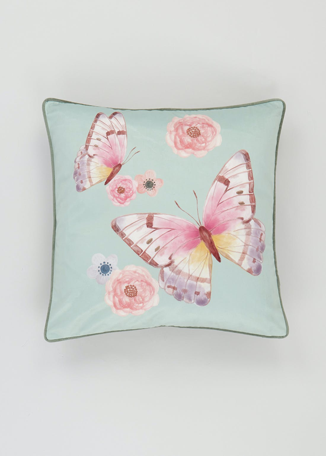 Embroidered Velvet Butterfly Cushion (46cm x 46cm)
