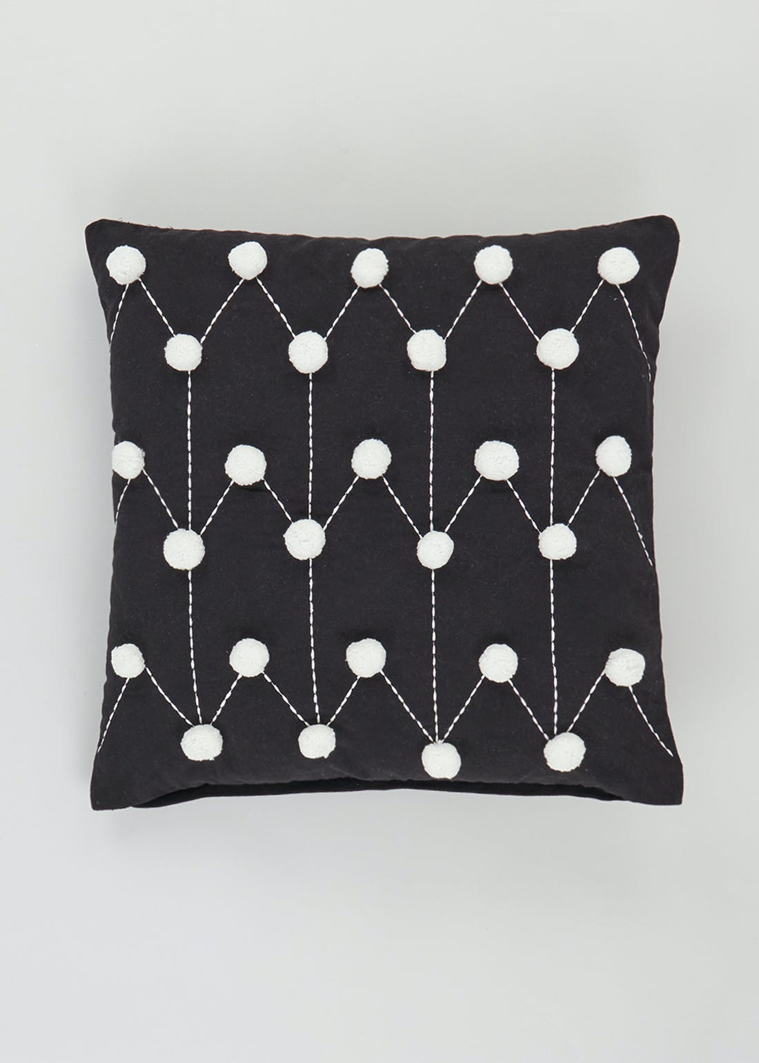 Embroidered Pom Pom Cushion (46cm x 46cm)