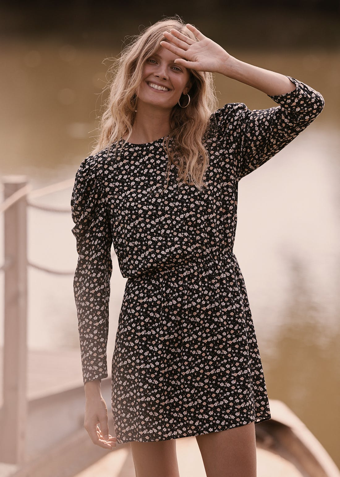Black Ruched Sleeve Ditsy Floral Dress