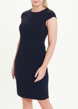 Navy Cap Sleeve Suit Dress