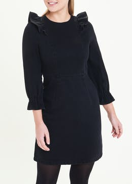 Black Frill Shoulder Denim Dress