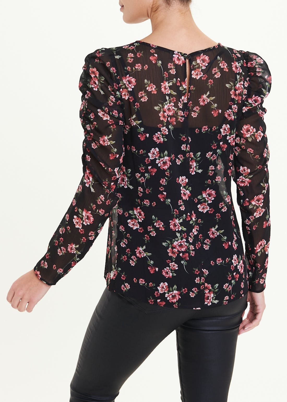 Ruched Long Sleeve Rose Print Sheer Blouse