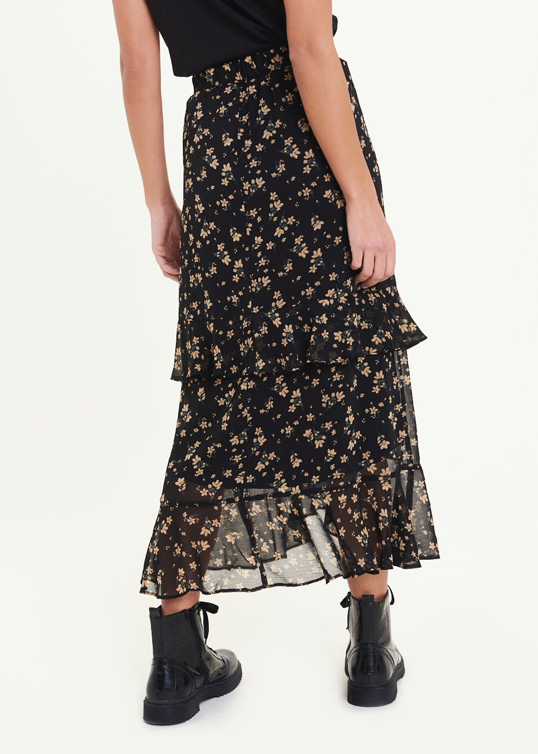 Ditsy Floral Tiered Midi Skirt