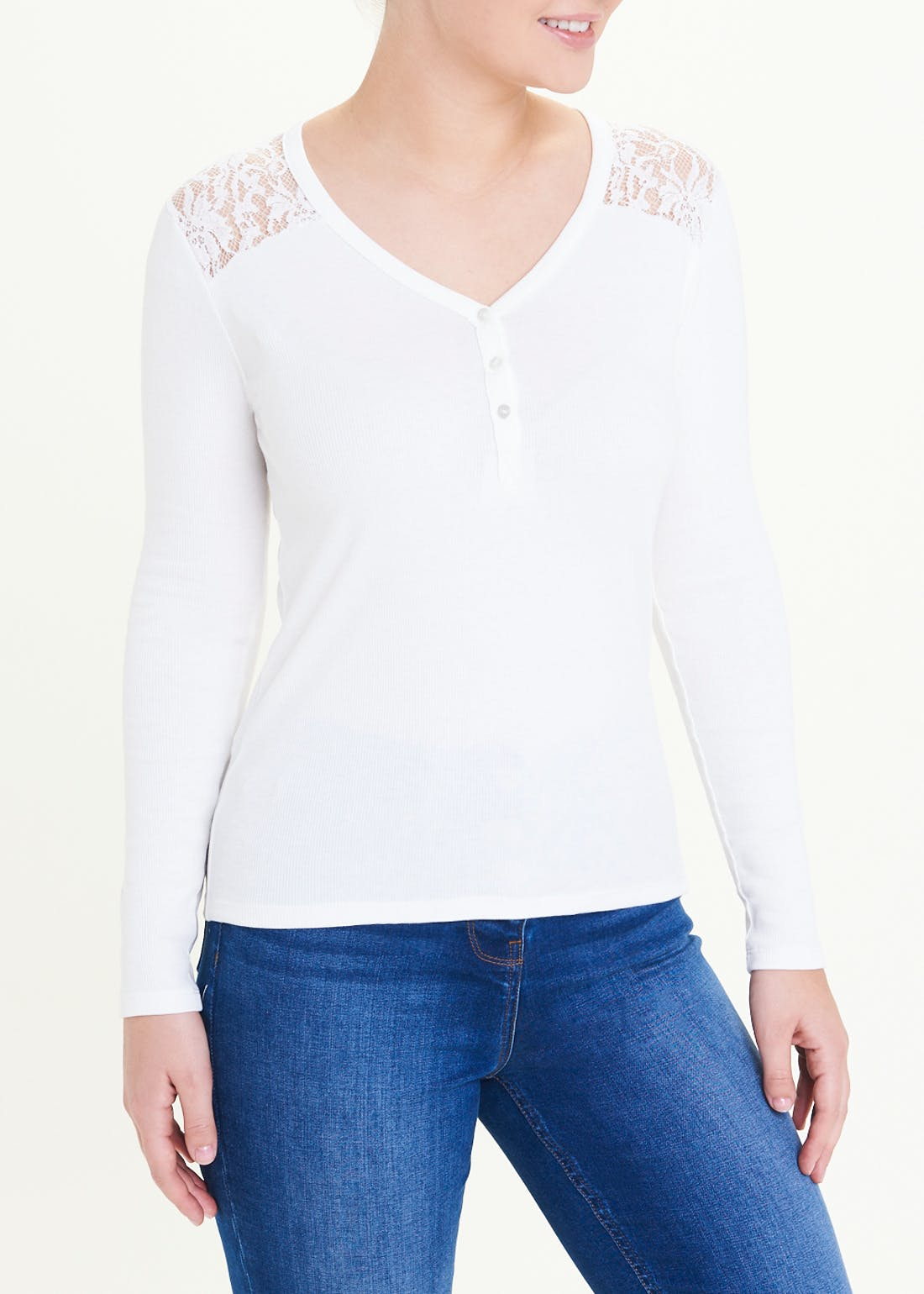 Falmer Long Sleeve Lace Henley Top