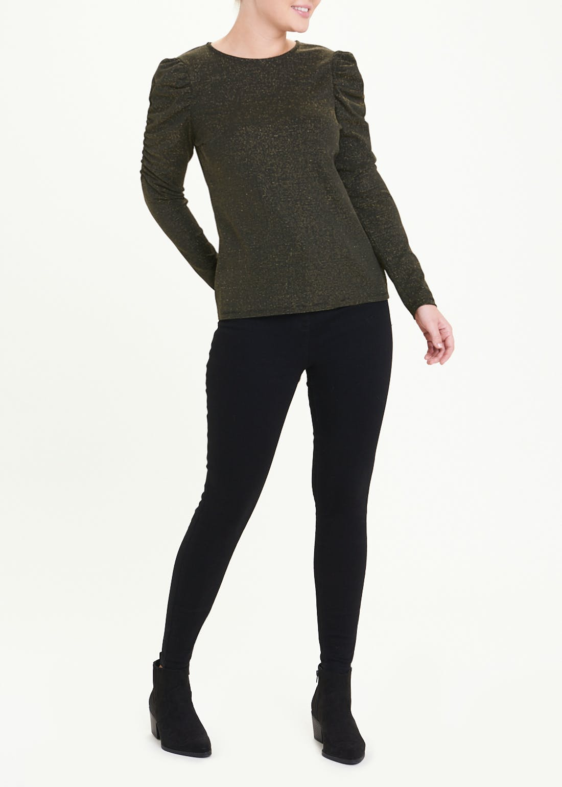 Gold Ruched Sleeve Metallic Top