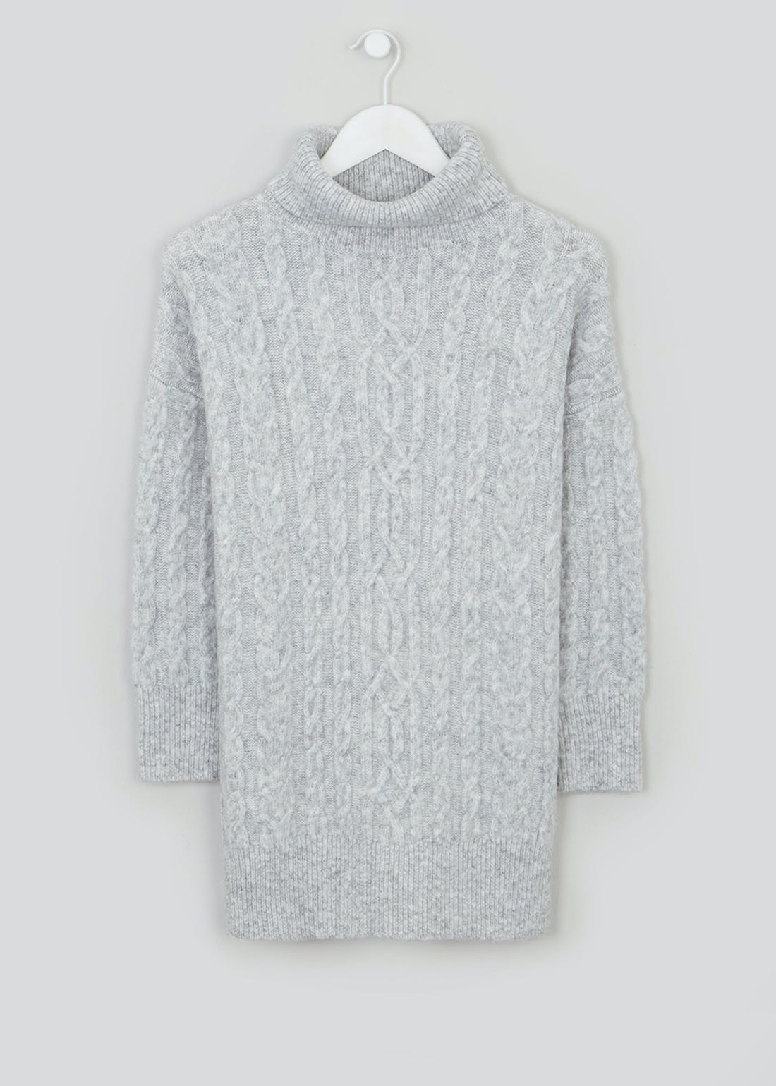 Papaya Petite Roll Neck Cable Knit Tunic Jumper