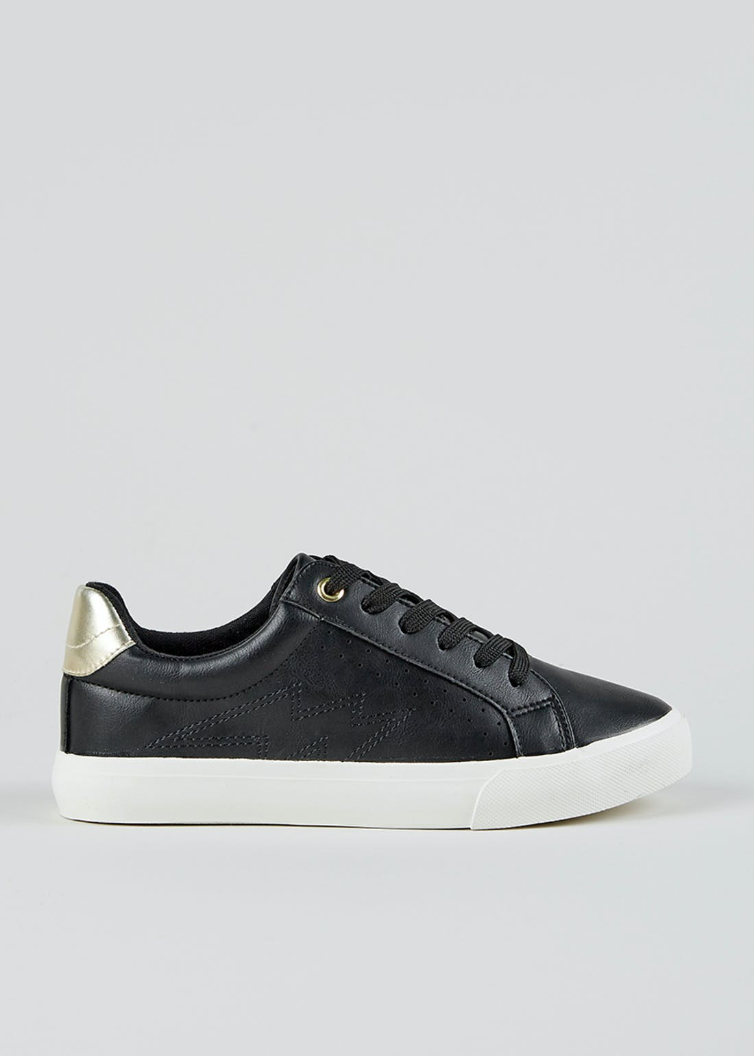 Black Leather Look Lace Up Trainers