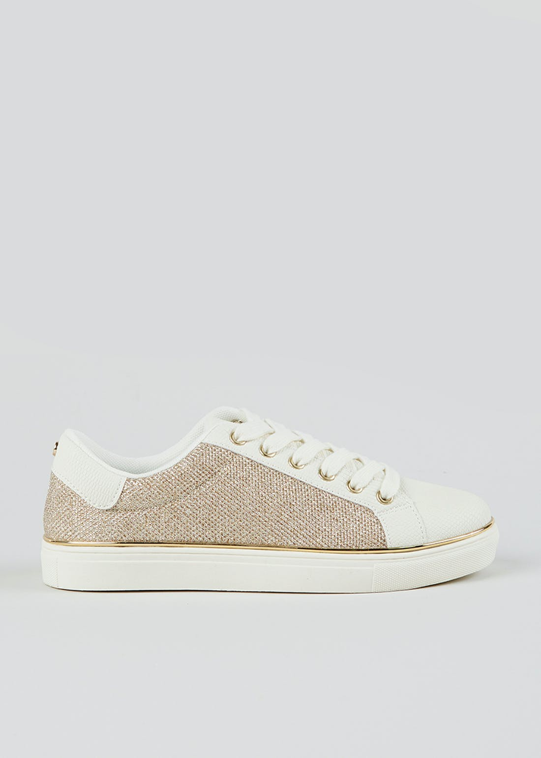 White & Gold Glitter Trainers