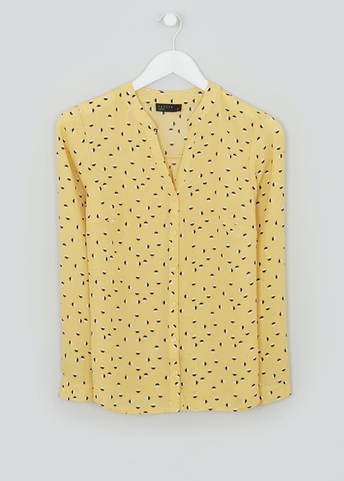 Yellow Long Sleeve Printed Blouse