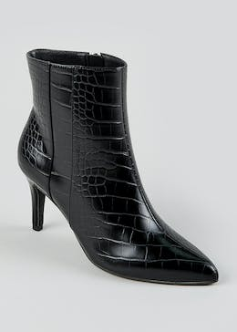 Black Mock Croc Pointed Shoe Boots