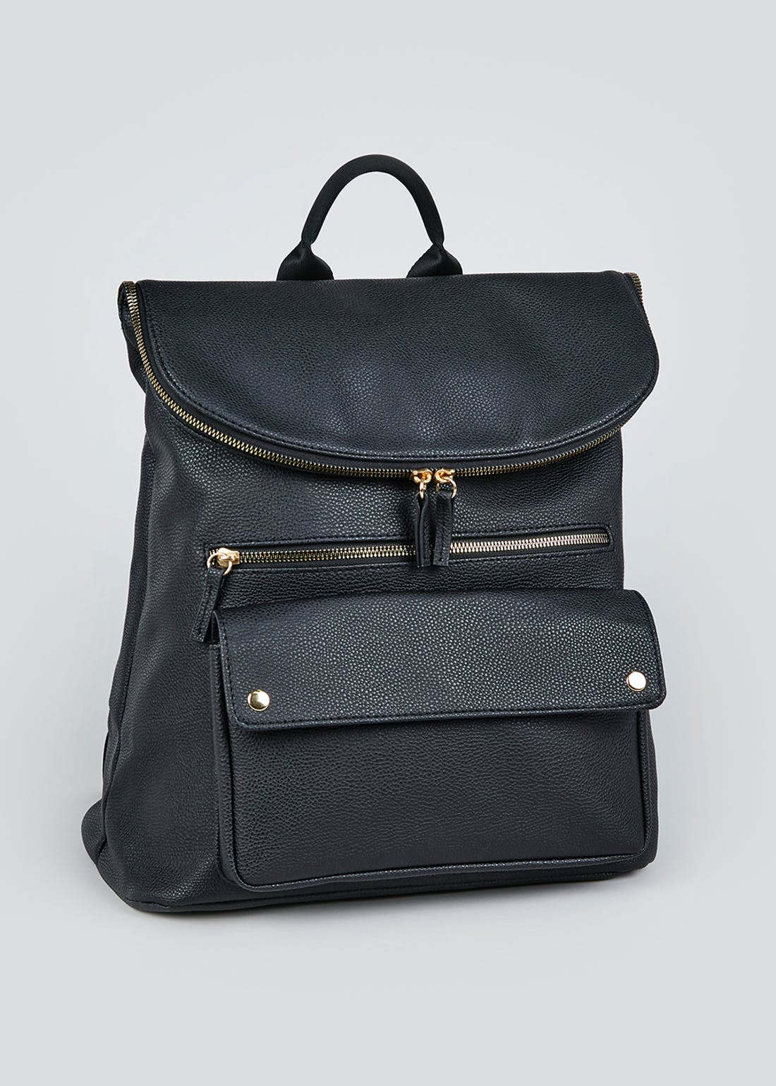 Faux Leather Foldover Backpack