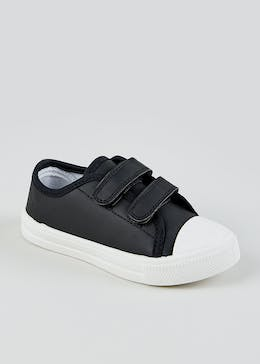 Kids Black Twin Strap Trainers (Younger 4-12)