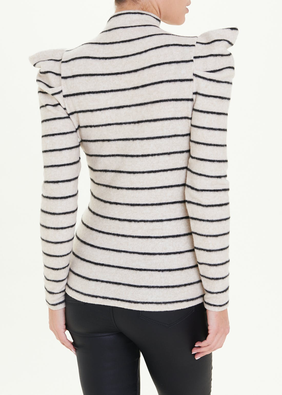 Stripe Gathered Sleeve Funnel Neck Top