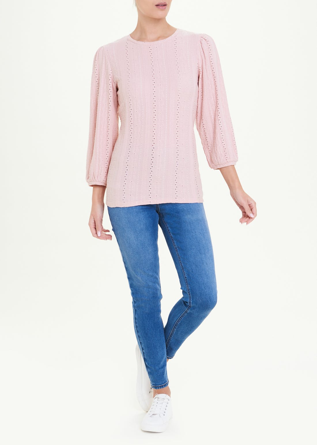 Long Sleeve Embroidered Cutwork Top