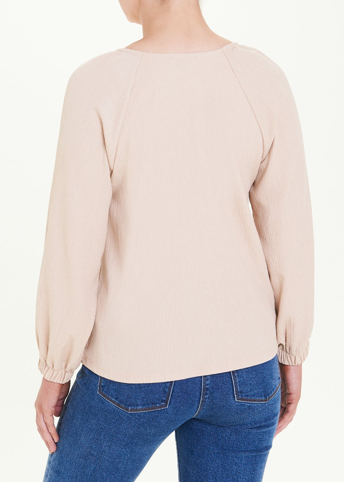 Long Sleeve Textured Button Top