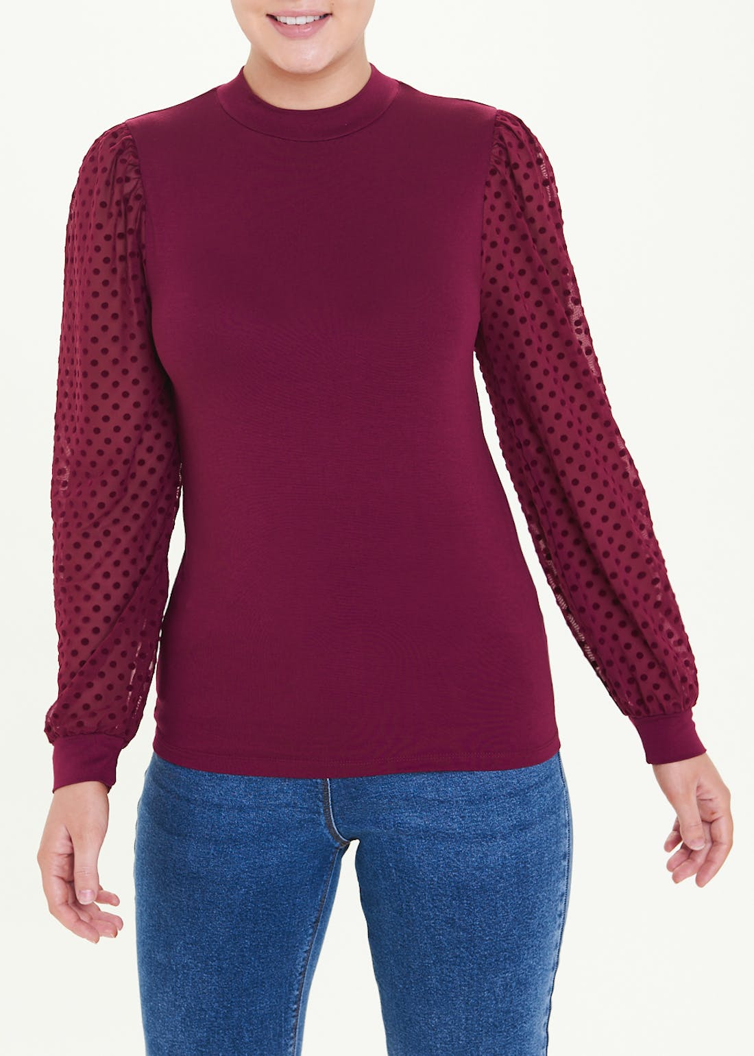 Burgundy Dobby Spot Mesh Sleeve Top