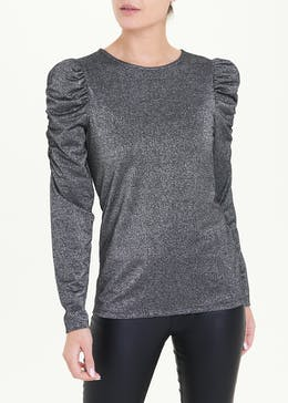Metallic Ruched Long Sleeve Top