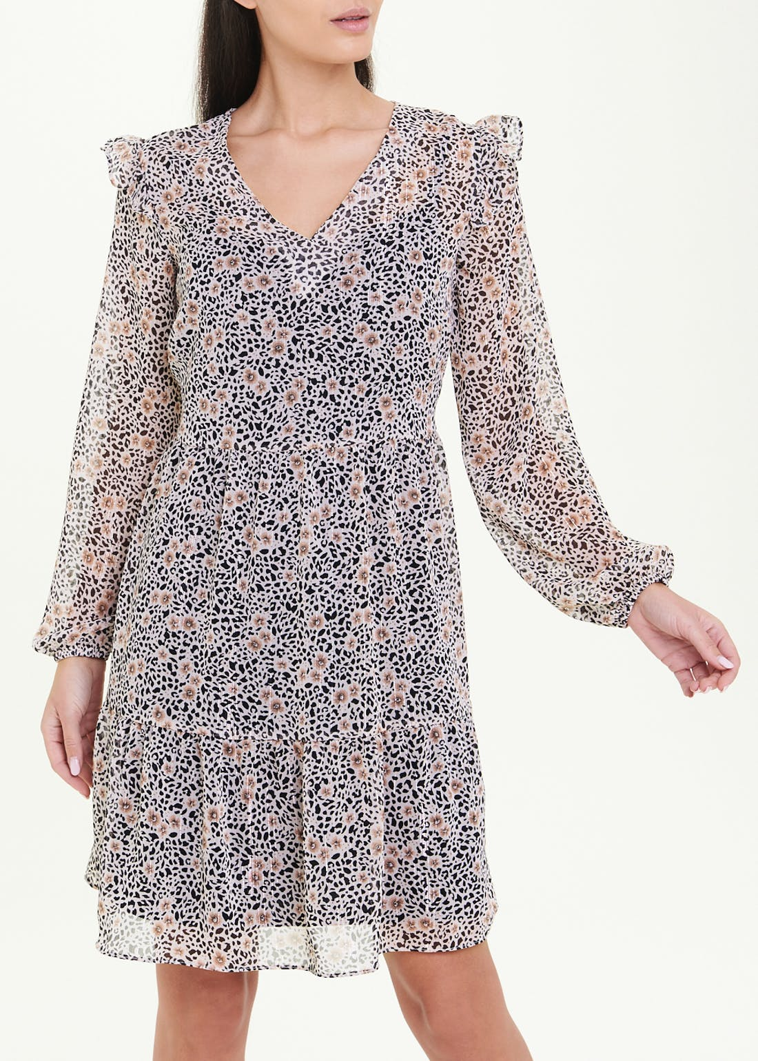 Long Sleeve Animal Print Chiffon Dress