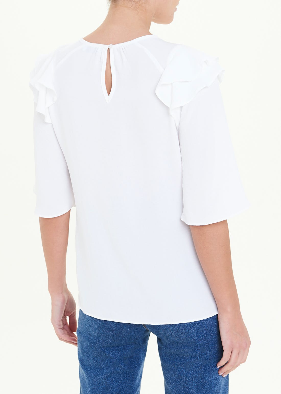 White Ruffle Angel Sleeve Blouse