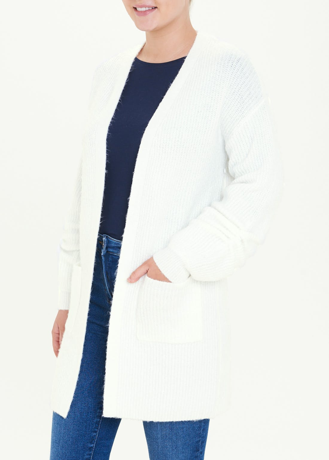 Ruched Sleeve Longline Cardigan