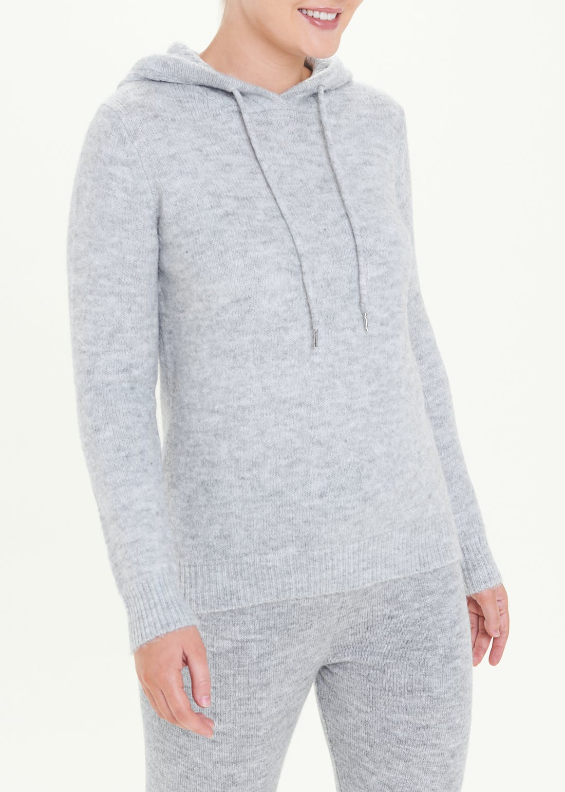 Ribbed Knitted Hoodie