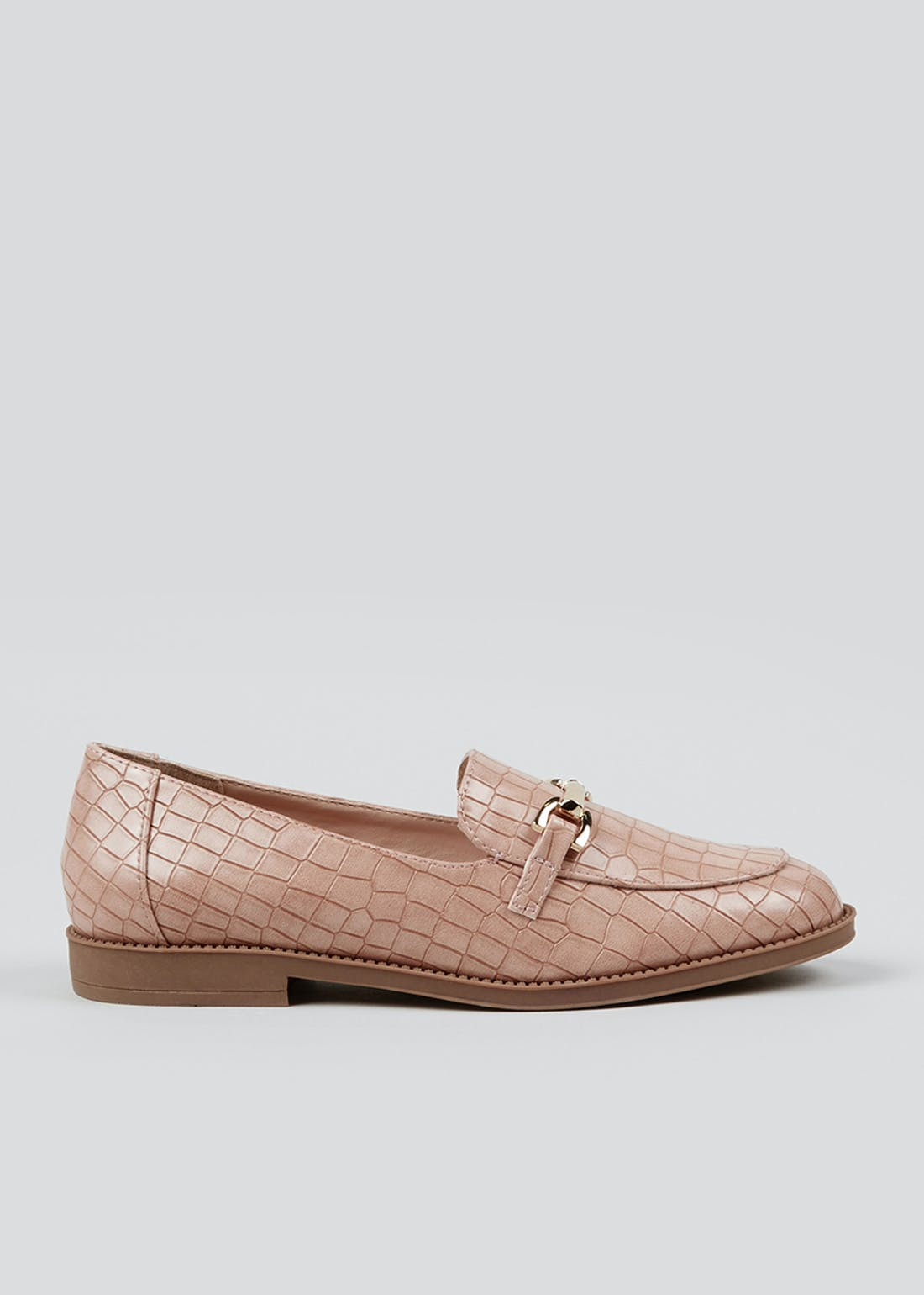 Pink Mock Croc Snaffle Loafers