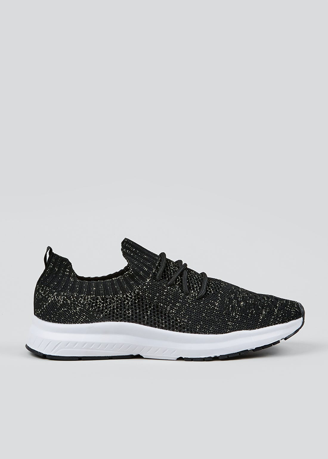 Souluxe Black Glitter Knitted Sports Trainers