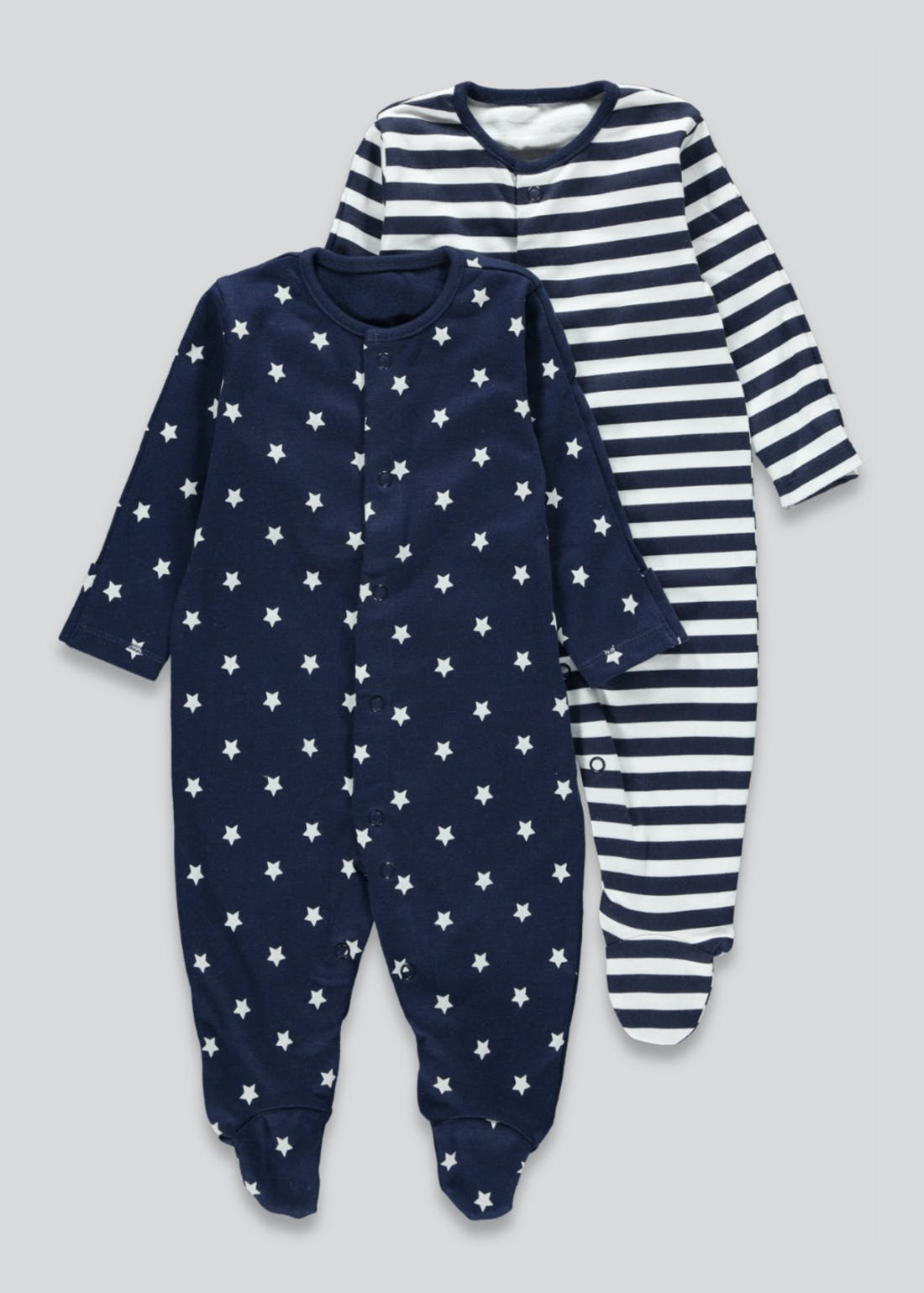 Unisex 2 Pack Stars & Stripes Baby Grows (Newborn-23mths)