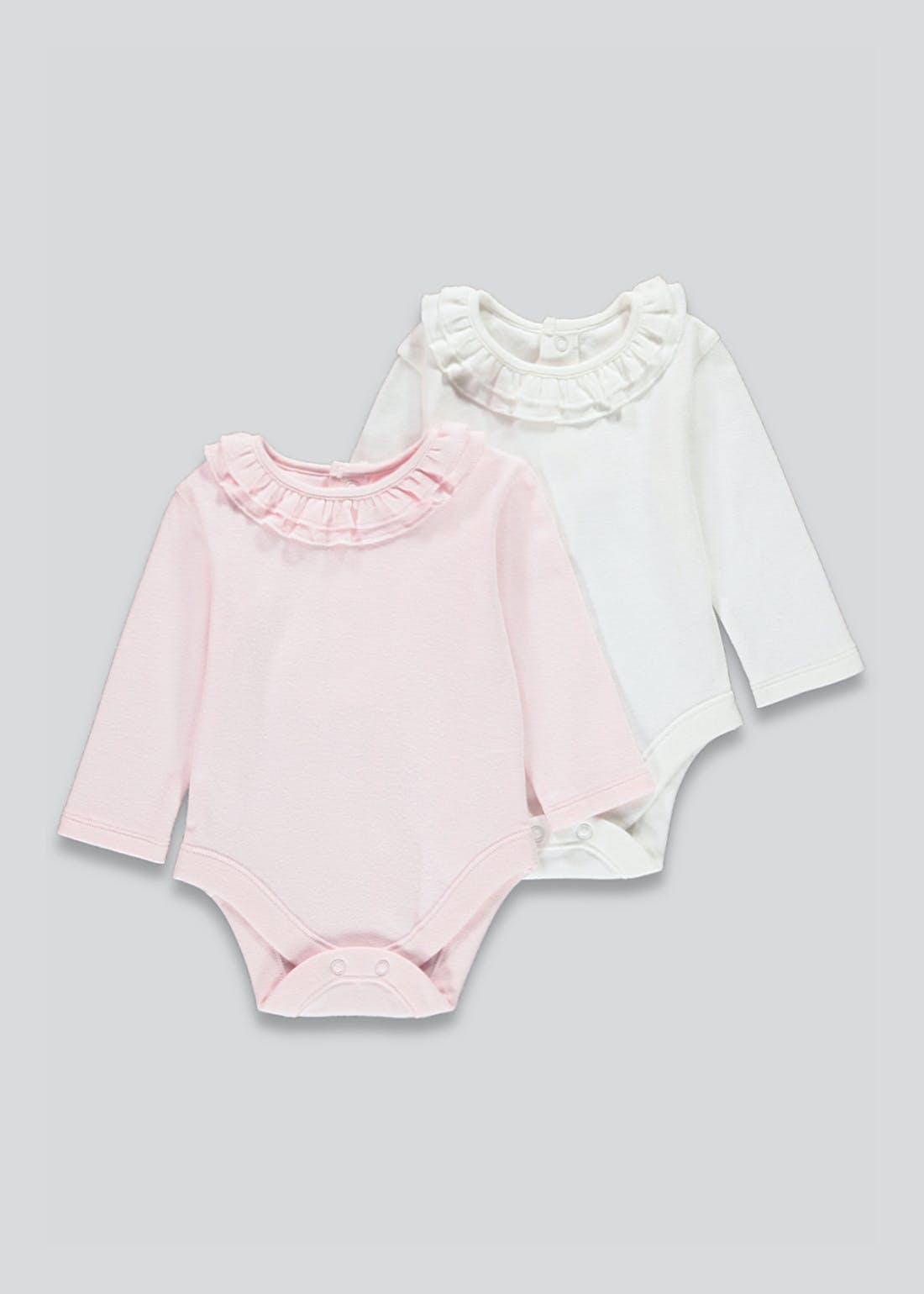 Girls 2 Pack Long Sleeve Frill Bodysuits (Tiny Baby-18mths)