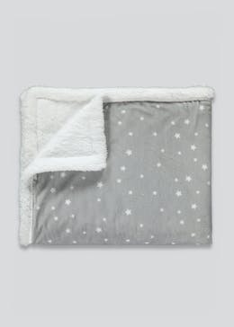 Star Print Fleece Baby Blanket (90cm x 70cm)