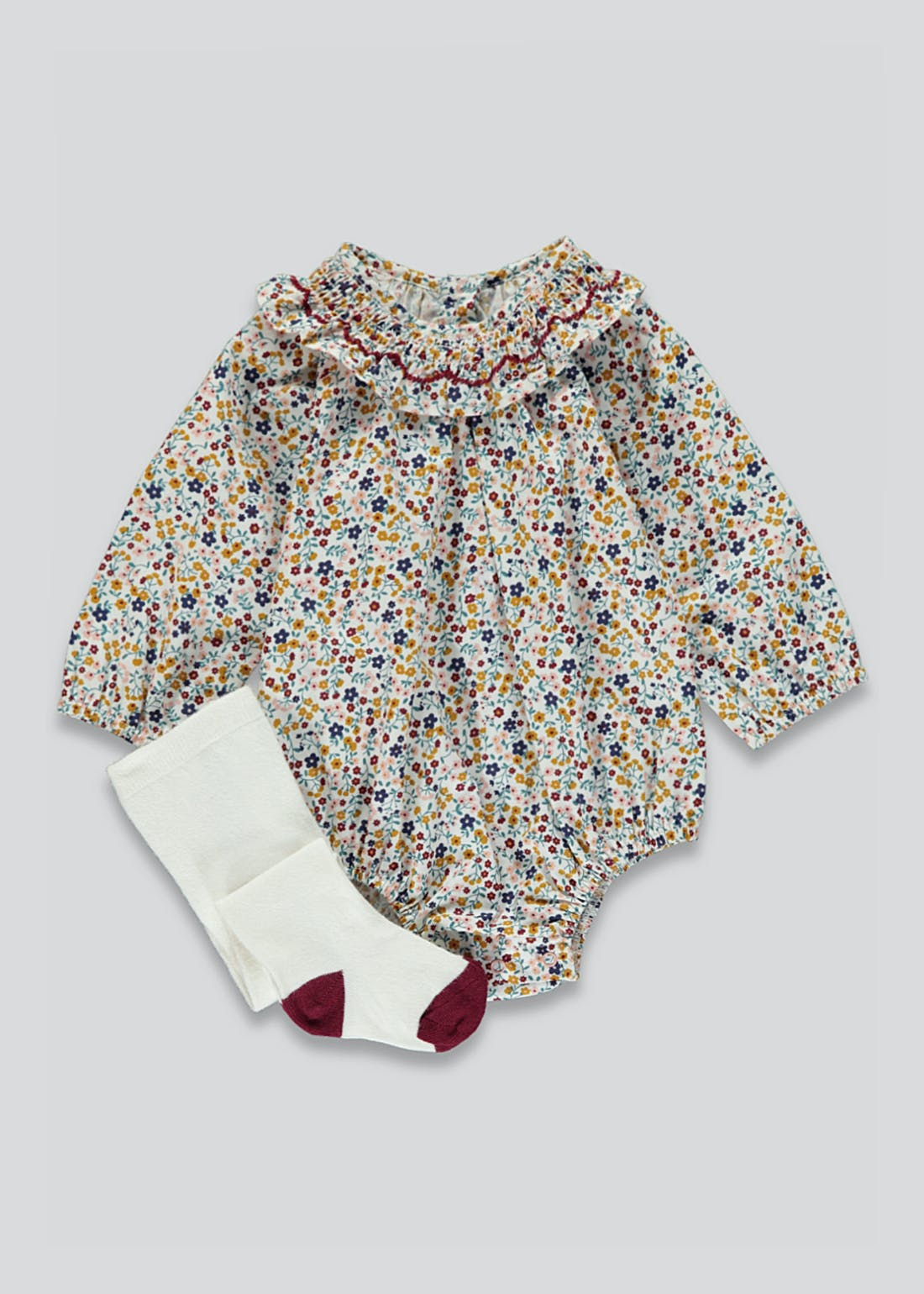 Girls Floral Print Romper & Tights Set (Tiny Baby-18mths)